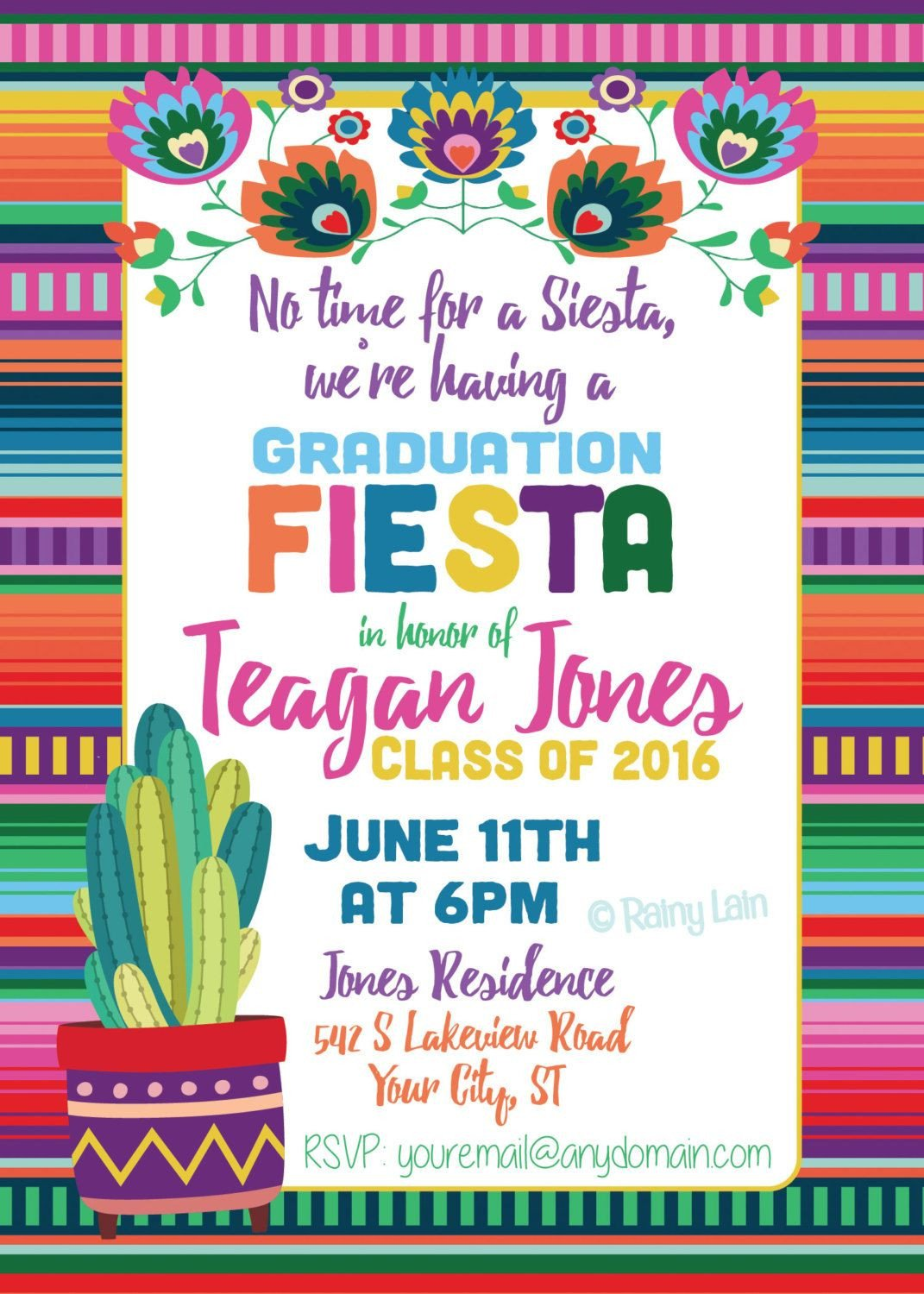 Fiesta Invitations Templates Free Fiesta Graduation Invitation Printable Fiesta Invite