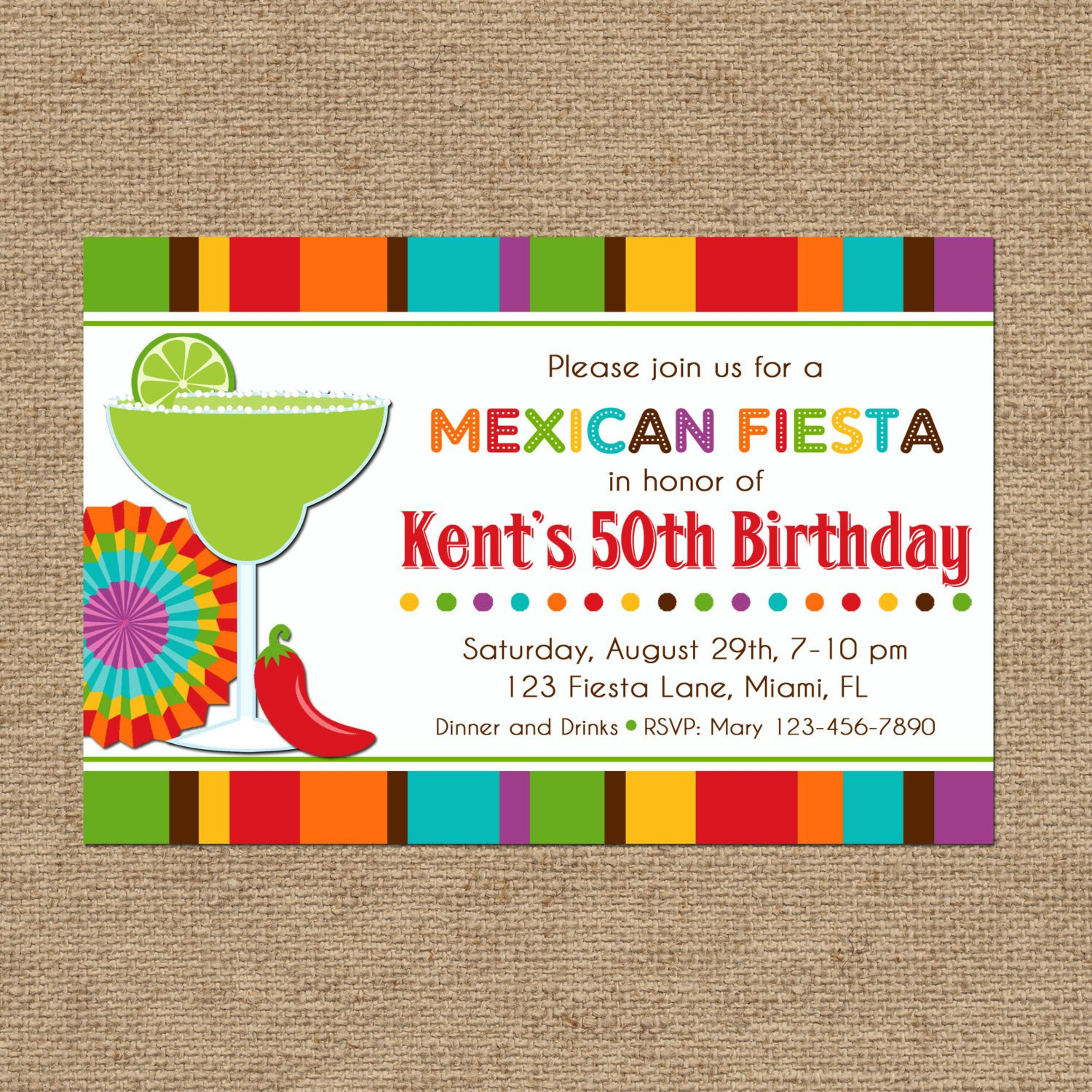 Fiesta Invitations Templates Free Mexican Fiesta Party Invitation Printable or Printed with Free