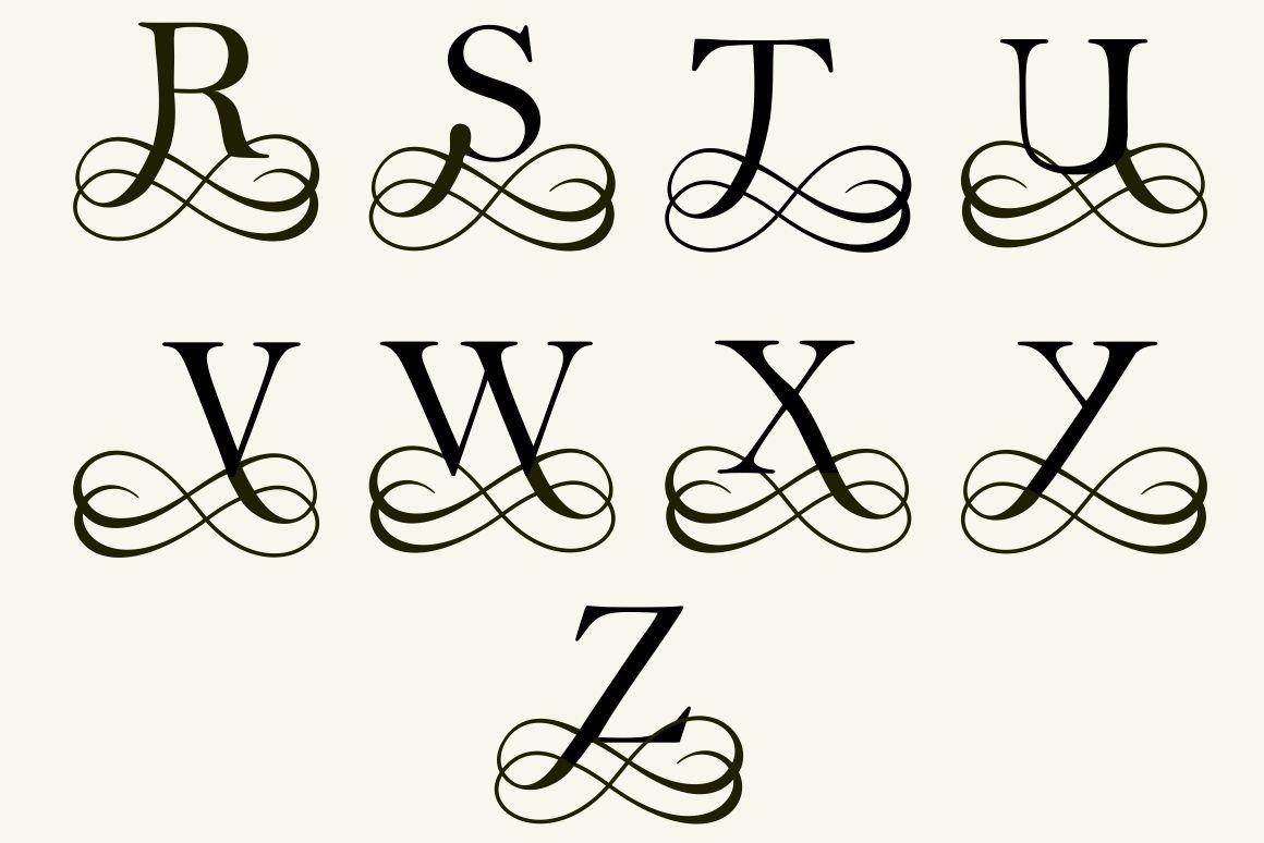 Filigree Design Templates 26 Filigree Letters for Monograms Logo Templates On