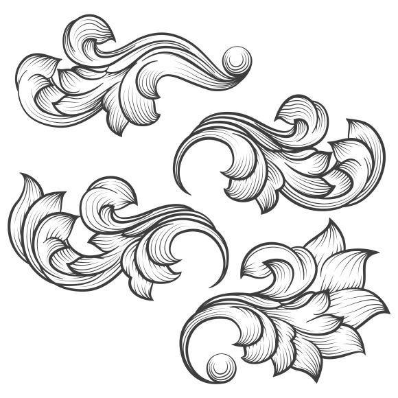 Filigree Design Templates Baroque Engraving Leaf Scroll On Creativework247