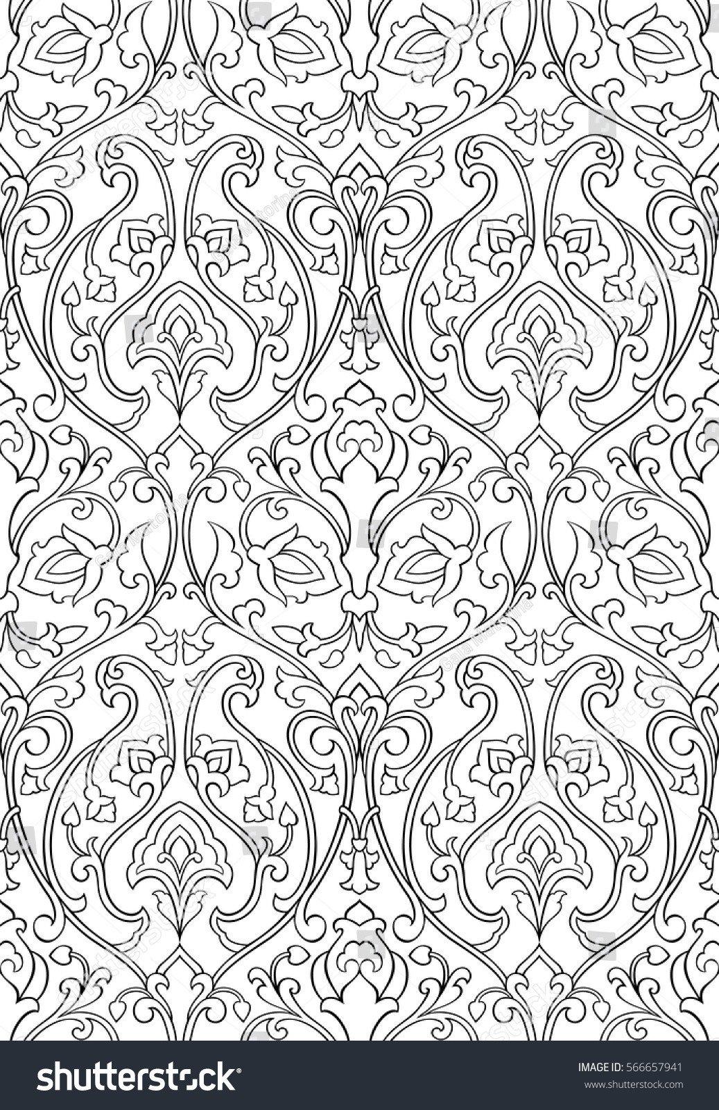 Filigree Design Templates Black White Floral Pattern Seamless Filigree Stock Vector