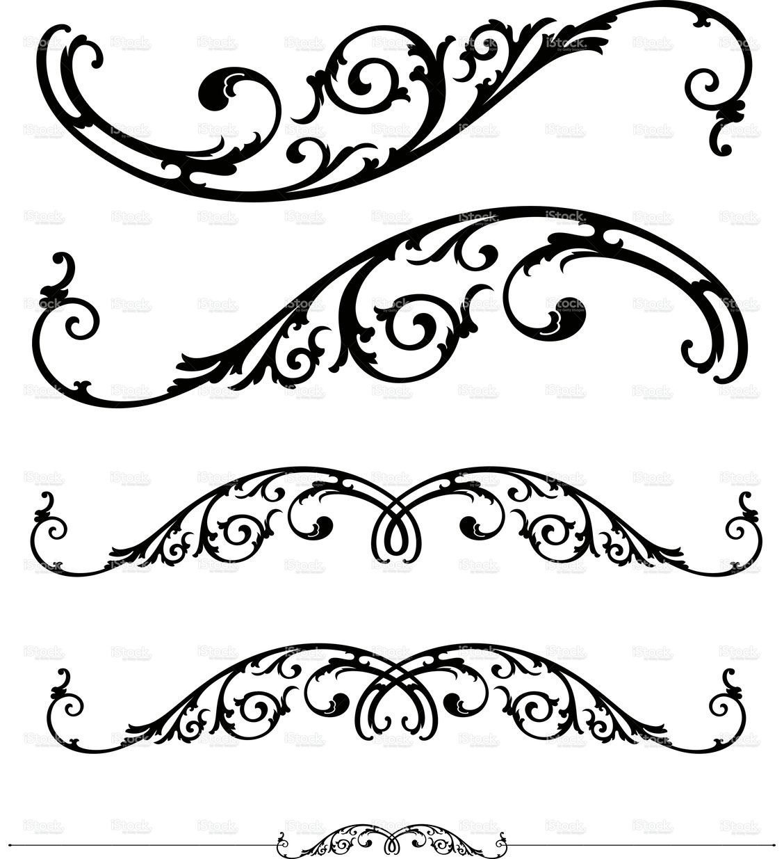 Filigree Design Templates Scroll and Ruleline Design Stock Vector Art