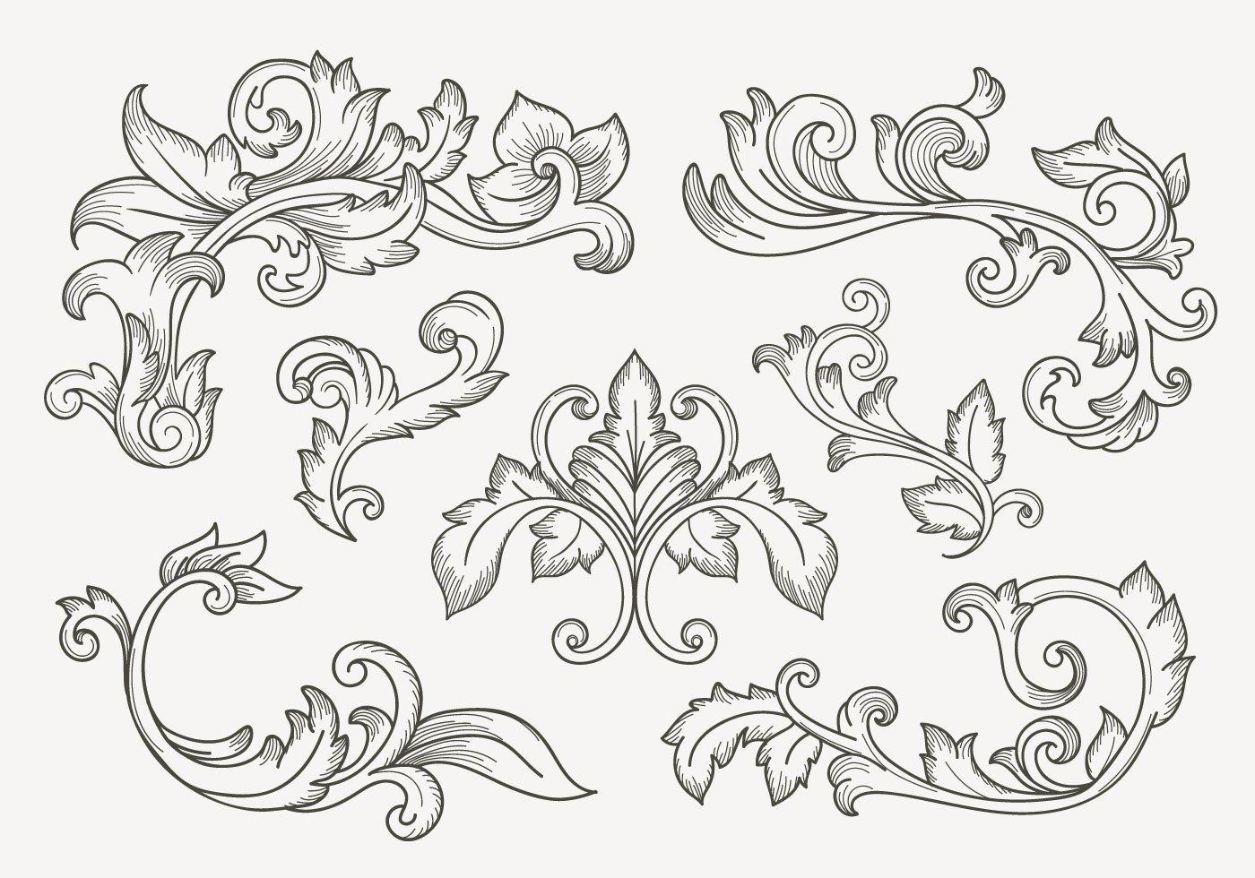 Filigree Design Templates Set Vintage Filigree Border Download Free Vector Art