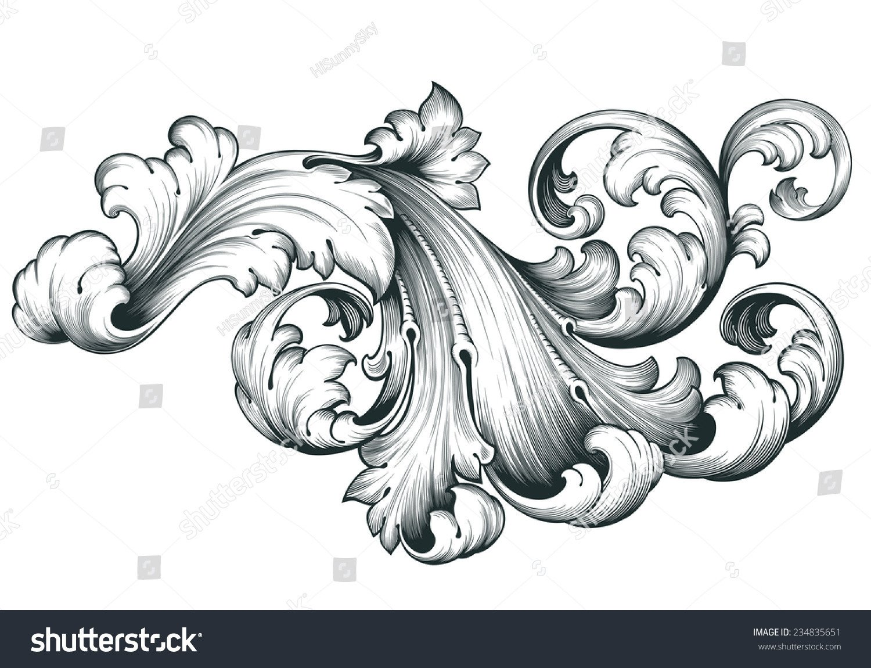 Filigree Design Templates Vintage Baroque Engraving Floral Scroll Filigree Stock