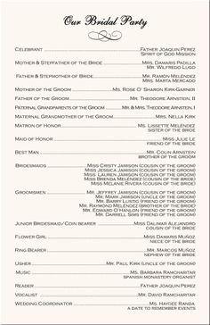 Filipino Catholic Wedding Program 1000 Images About Wedding Programs and Menus On Pinterest