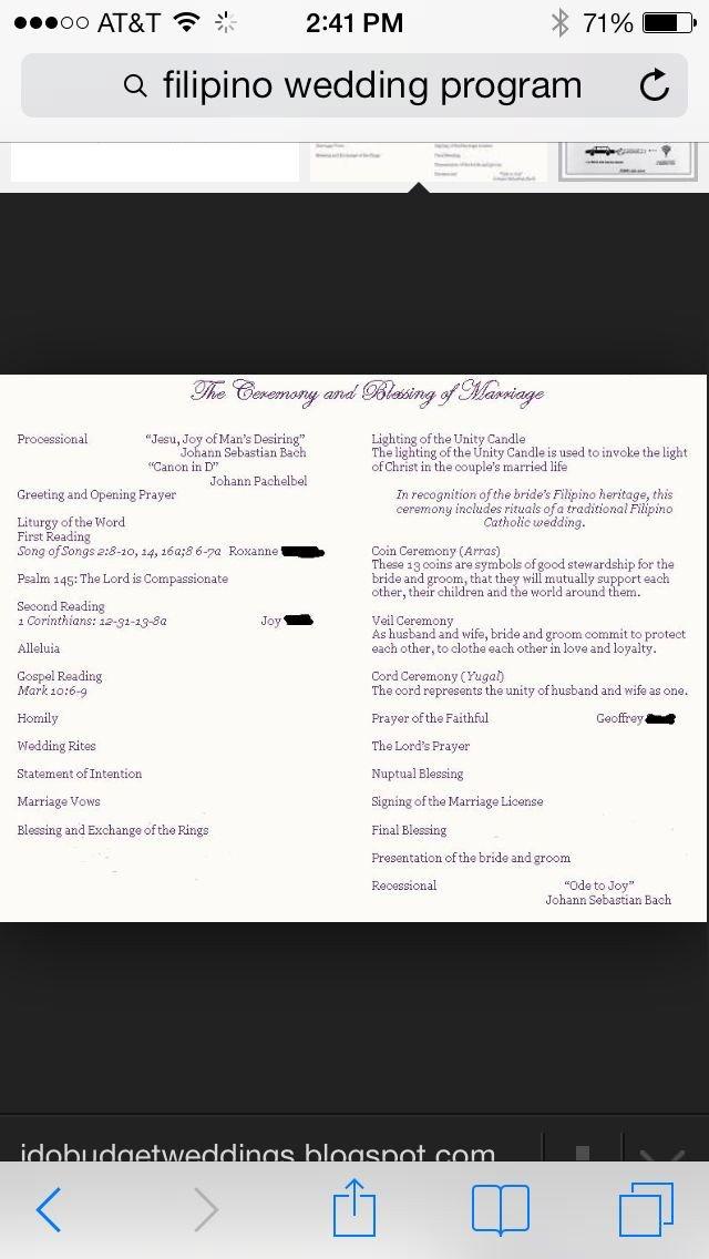 Filipino Catholic Wedding Program 17 Best Images About Cultural Filipino Wedding Ideas On