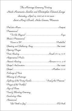 Filipino Catholic Wedding Program and Galveston Bay Catholic Wedding Programs for Non Mass