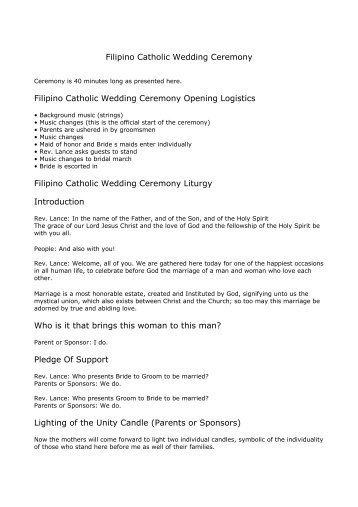 Filipino Catholic Wedding Program Basic Wedding Ceremony Outline for Rick Langer