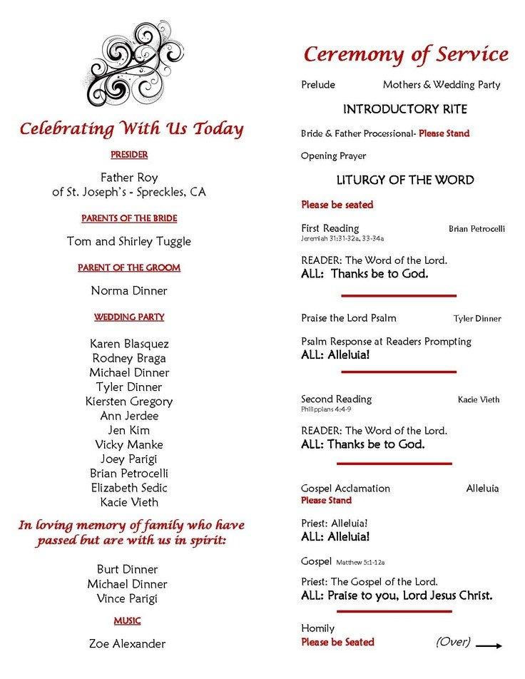 Filipino Catholic Wedding Program Catholic Wedding Ceremony Program Sample Page 2 Inside Of