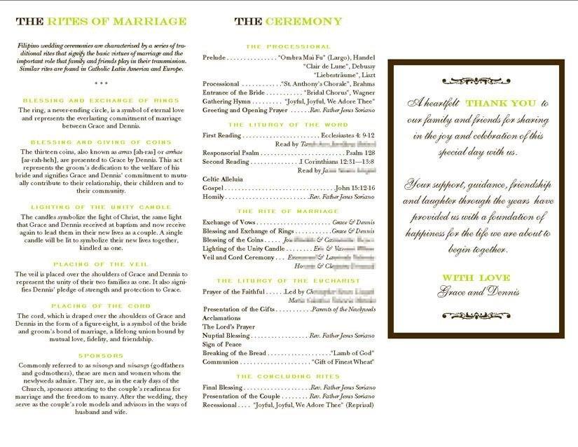 Filipino Catholic Wedding Program Filipino Mass Program