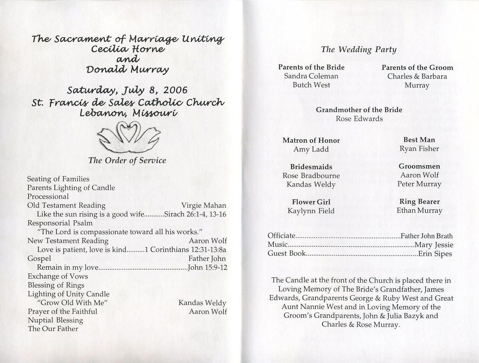 Filipino Catholic Wedding Program Free Printable Wedding Programs Templates