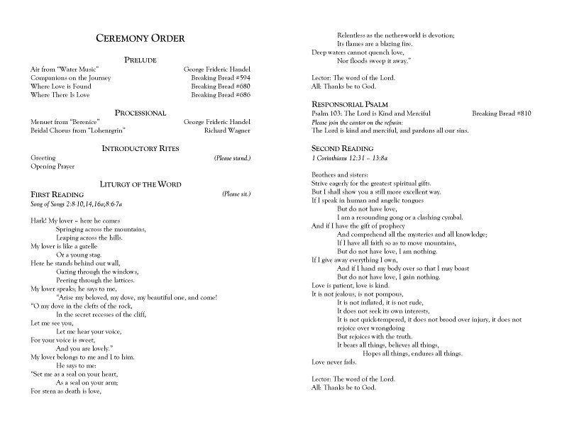 Filipino Catholic Wedding Program Microsoft Word Text for Ceremony Programs1 Copy