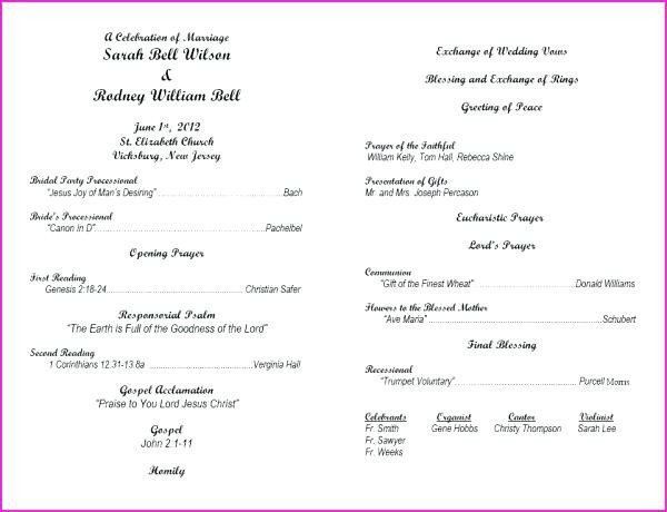 Filipino Catholic Wedding Program Viabcp