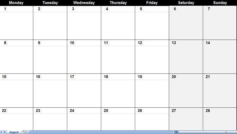 Fill In Calendar Template August 2011 Calendar