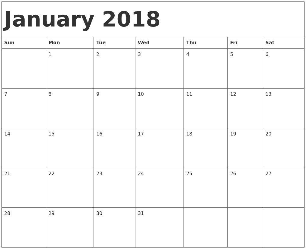 Fill In Calendar Template Blank Fill In Calendar 2018