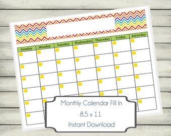 Fill In Calendar Template Chevron Calendar Pdf