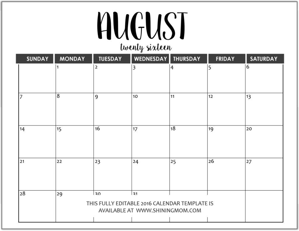 Fill In Calendar Template Just In Fully Editable 2016 Calendar Templates In Ms Word