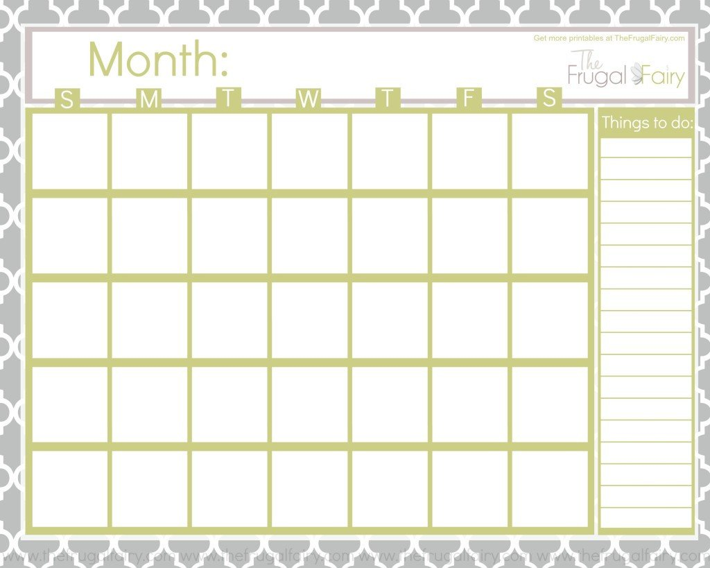 Fill In Calendar Template Printables Archives