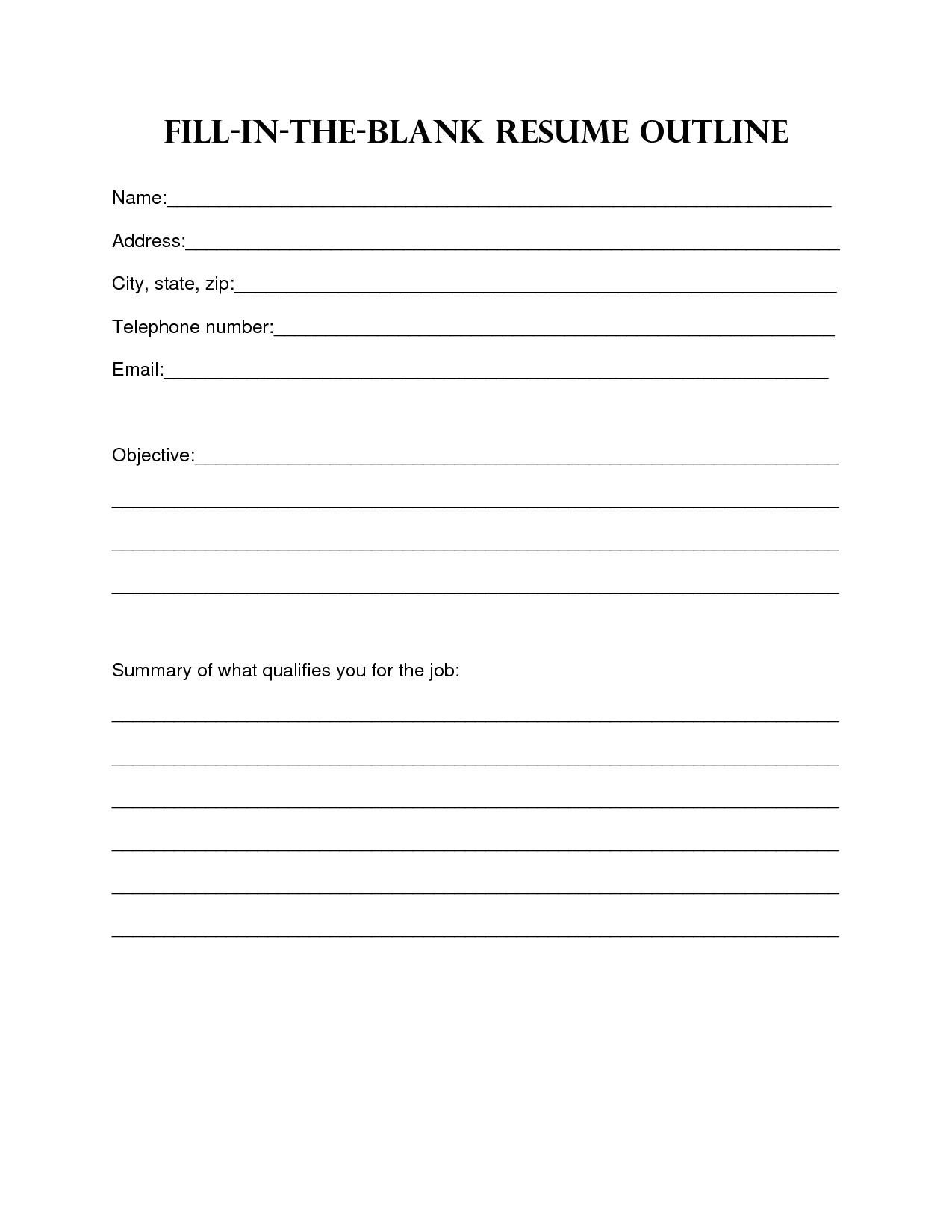 Fill In Resume Template 13 Best Of Simple Resume Worksheet College Brag