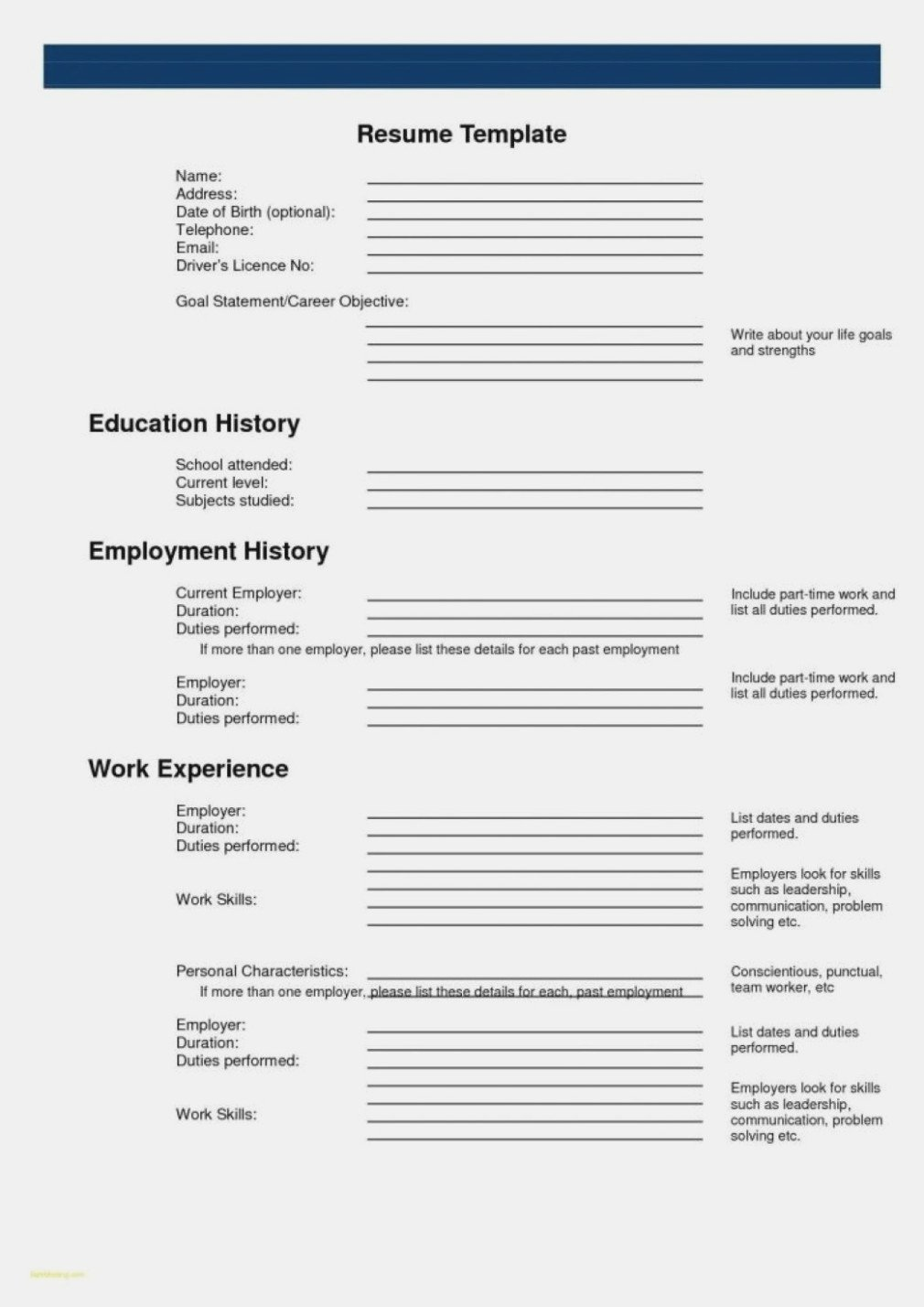 Fill In Resume Template 15 Printable Resumes to Fill Out Rituals