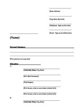 Fill In Resume Template A Fill In the Blank Resume Template by Katie Allen