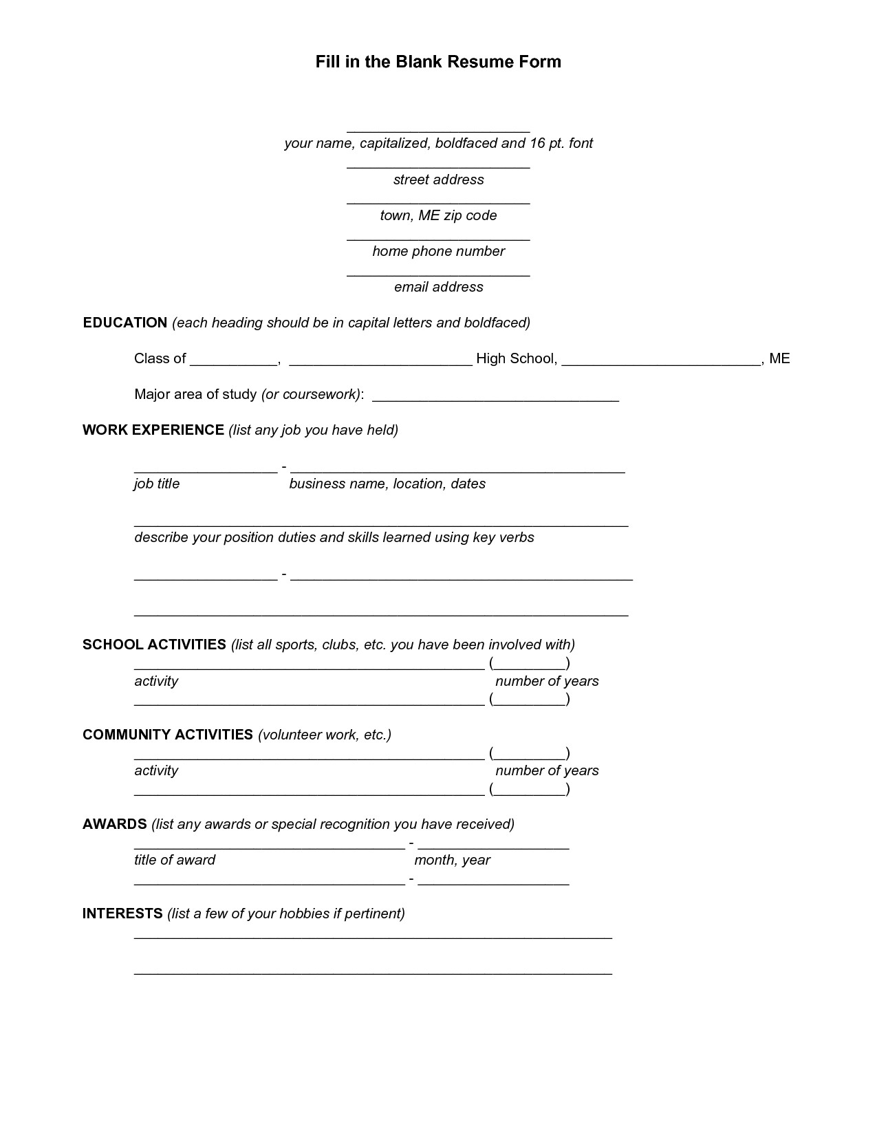 Fill In Resume Template Blank Resume Template for High School Students