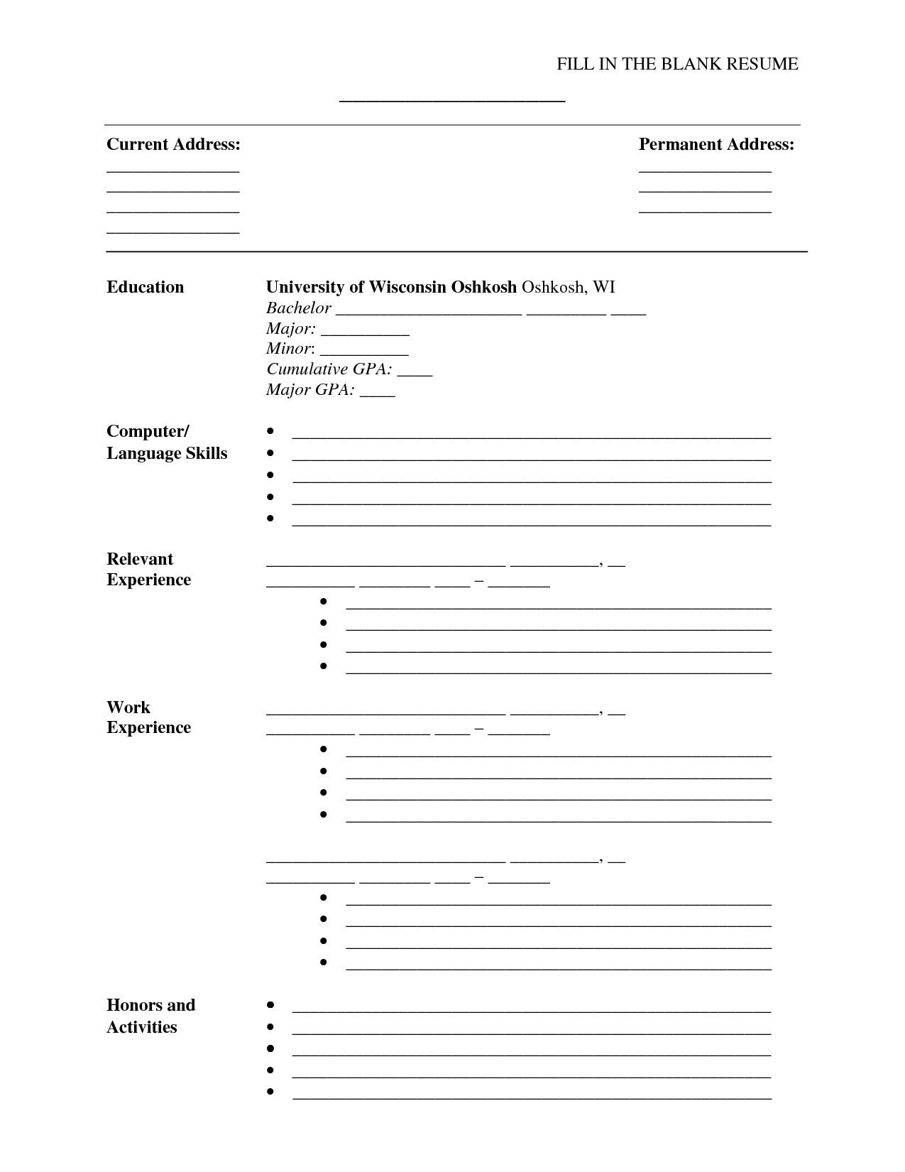Fill In Resume Template Fill In the Blank Resume Pdf Umecareer