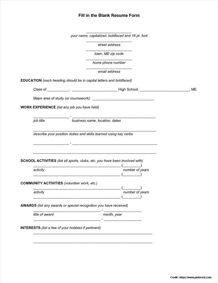 Fill In Resume Template Pdf Blank Recipe Template 8x11 Templates Resume Examples