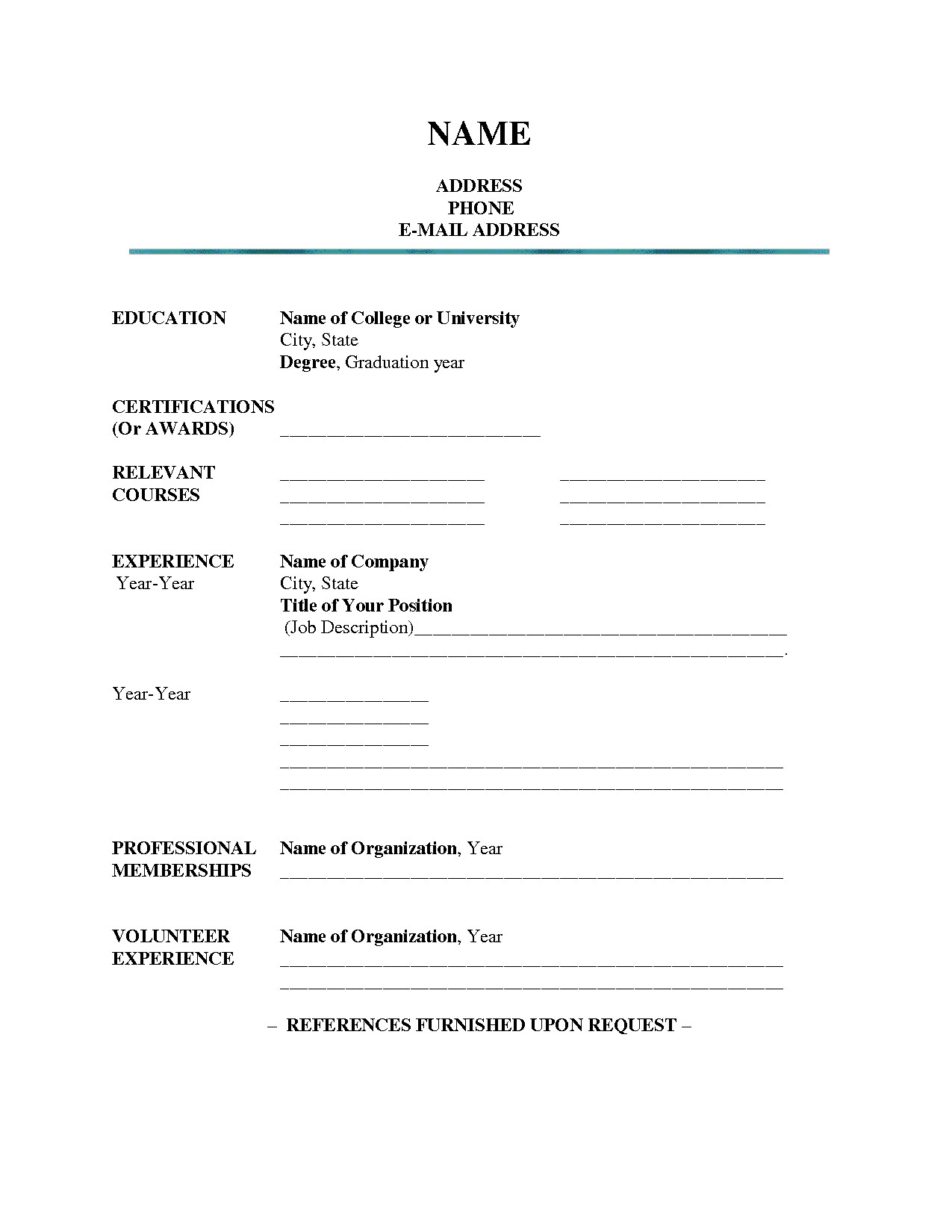 Fill In Resume Template Pdf Blank Resume Template