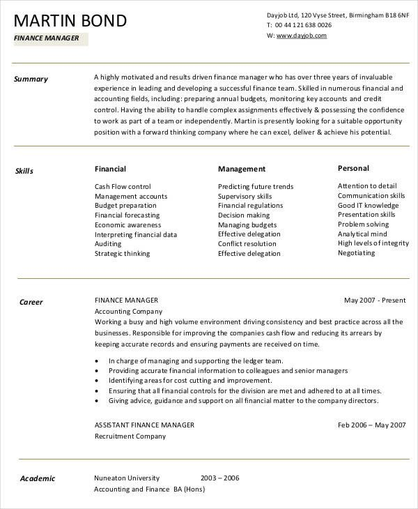 Finance Resume Template Word 10 Finance Resume Templates Pdf Doc