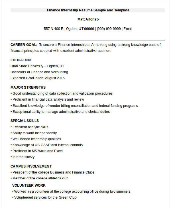 Finance Resume Template Word 20 Finance Resume Templates Pdf Doc