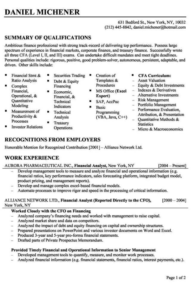 Finance Resume Template Word Entry Level Financial Analyst Resume