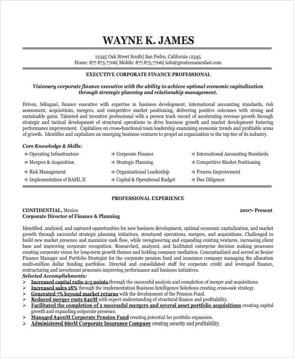 Finance Resume Template Word Sample Finance Resume Template 7 Free Documents