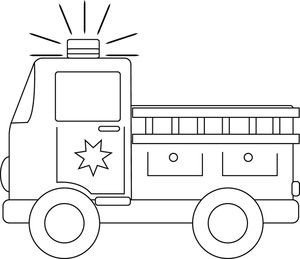 Fire Truck Template Printable Clip Art Black and White