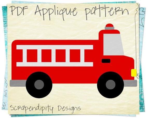 Fire Truck Template Printable Fire Truck Applique Pattern Emergency Vehicle Applique
