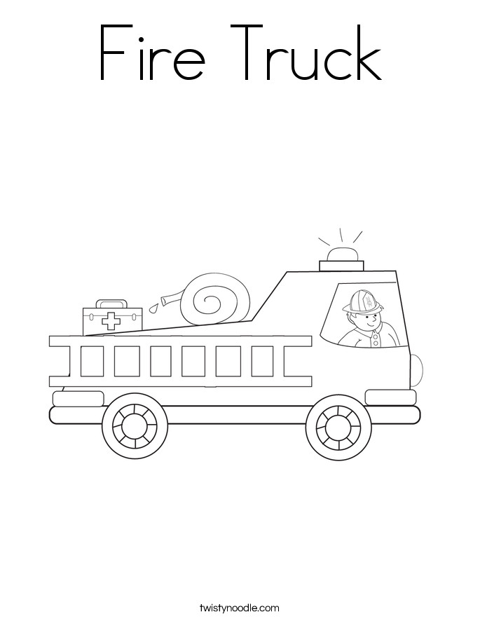 Fire Truck Template Printable Fire Truck Coloring Page Twisty Noodle