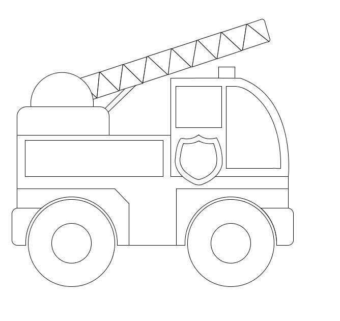 Fire Truck Template Printable Fire Truck Simple Coloring Pages