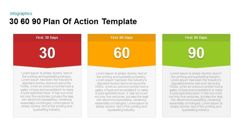 First 90 Days Plan Template 30 60 90 Plan Action Powerpoint and Keynote Template