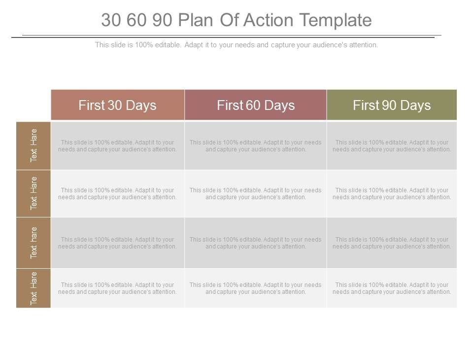 First 90 Days Plan Template 30 60 90 Plan Action Template Powerpoint Templates