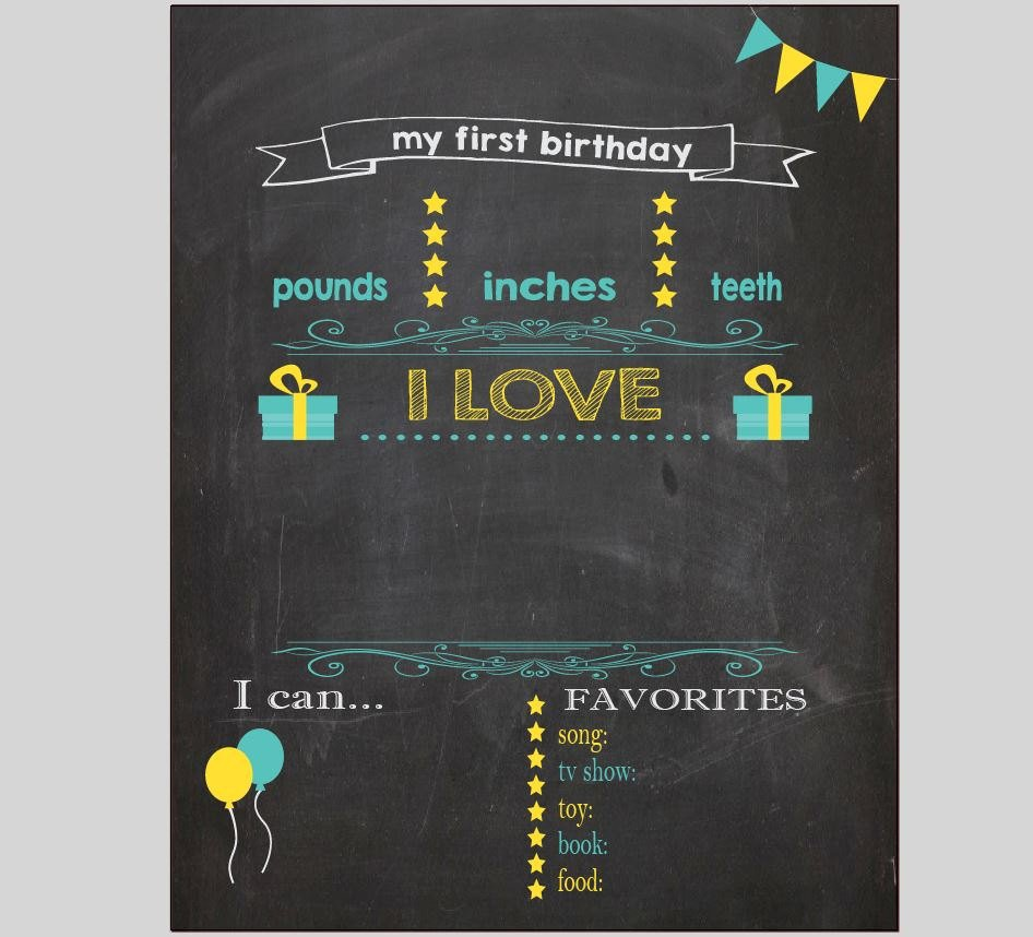 First Birthday Chalkboard Template Blank First Birthday Chalkboard Diy 1st Birthday Board Digital