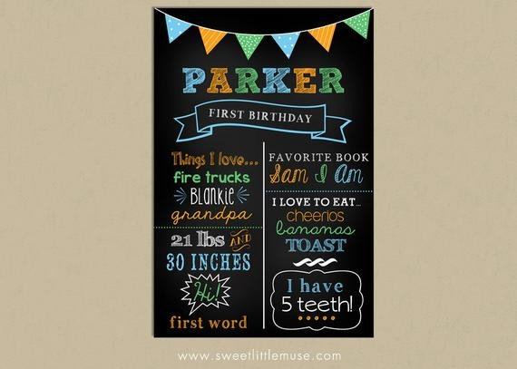 First Birthday Chalkboard Template First Birthday Chalkboard Template Chalkboard by