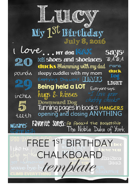 First Birthday Chalkboard Template First Birthday Chalkboard Template Free Download for Baby