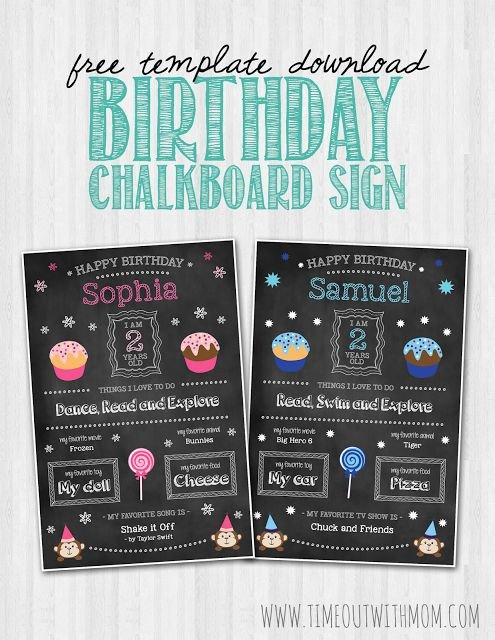 First Birthday Chalkboard Template Free Download Birthday Chalkboard Sign Template and
