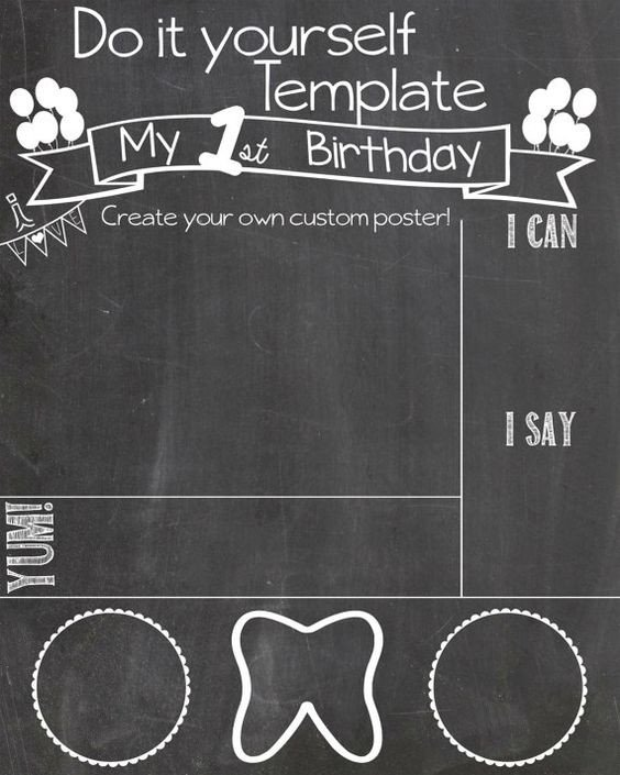 First Birthday Chalkboard Template Pinterest • the World's Catalog Of Ideas