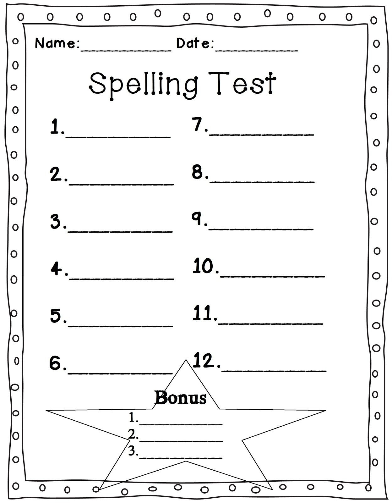 First Grade Spelling Test Template Mrs Glover S First Grade Owls Spelling Test Sheet