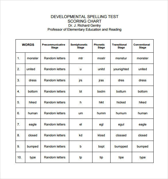 First Grade Spelling Test Template Spelling Test Template 14 Download Free Documents In