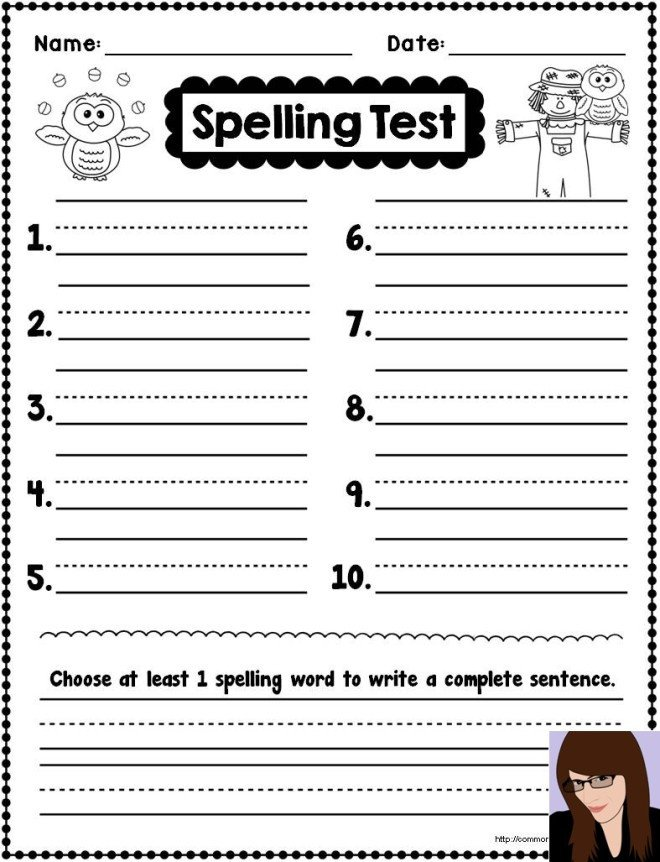 First Grade Spelling Test Template Spelling Test Template