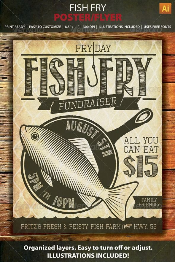 Fish Fry Flyer Template Fish Fry event Fundraiser Poster Flyer or Ad