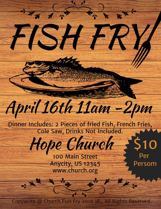 Fish Fry Flyer Template Fish Fry Template