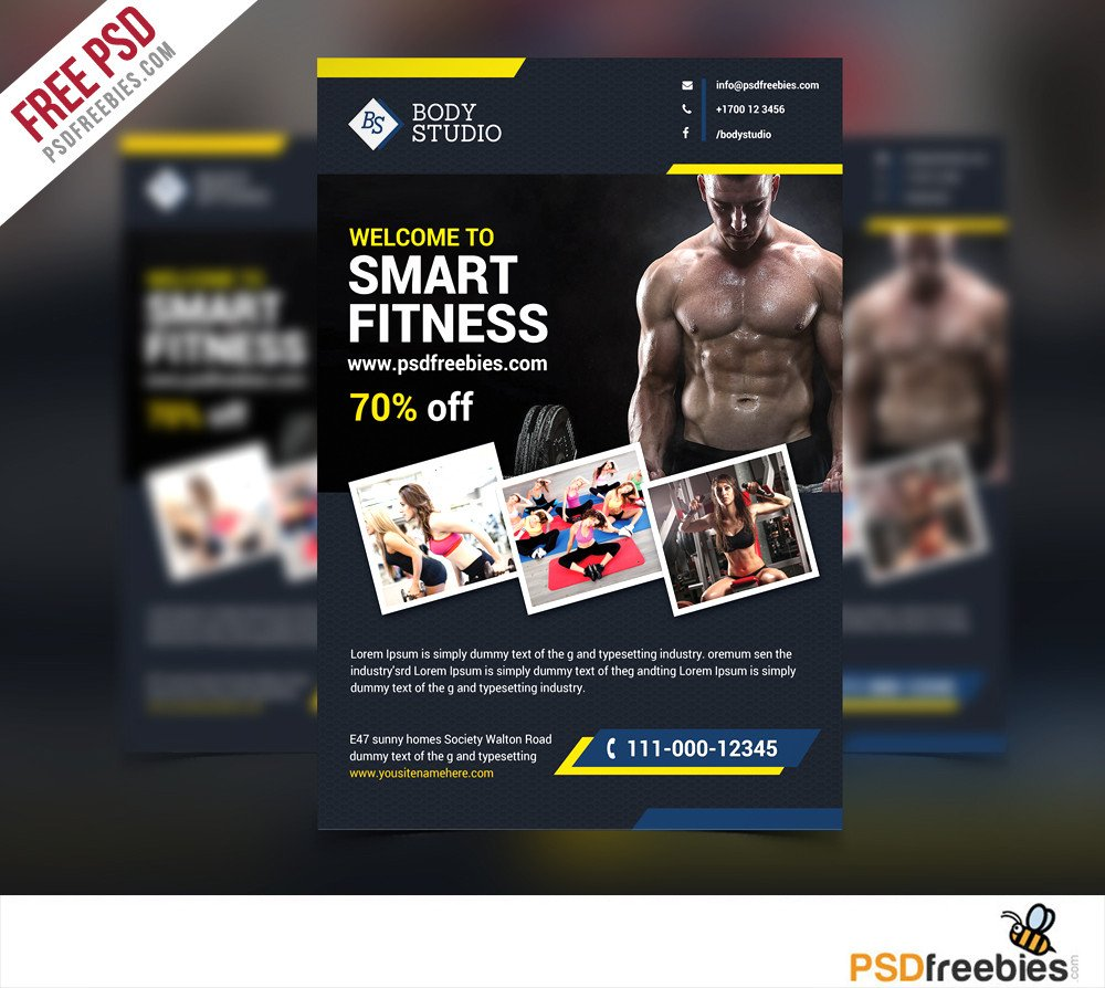 Fitness Flyer Template Free Download Free Fitness or Gym Flyer Template Free Psd at